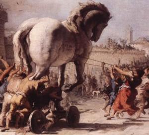 Il cavallo di Troia è simbolo di un'azione necessaria all'abbattimento dei propri limiti, rappresentati dalle mura della città di Troia, la quale deve cadere affinchè in futuro Romolo fondi la Roma quadrata